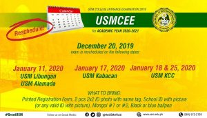 USMCEE Schedule for Academic Year 2020-2021