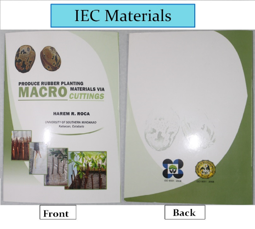Development of In-vivo Propagation Techniques for the Production of Rubber Planting Materials (Harem R. Roca, Noe S. Mamon Jr., Alemer G. Cabantug, Arnie Jay C. Evangelio, Mercedes D. Nicor and Ronald E. Nicor)